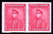 NEWFOUNDLAND #189ai 4c ROSE LAKE, 1932 IMPERF PAIR, VF, MINT