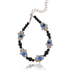 Handmade Evil Eye Hand Fatima Hamsa Charm Beaded Bracelet Chain Tibetan Silver