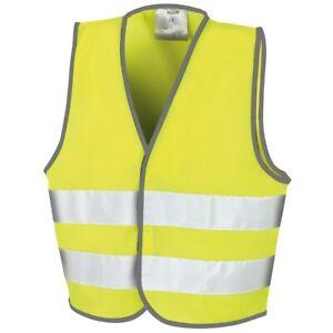 Childs Kids Hi Viz Vest Tabbard Hi Visibility Waistcoat Safety  Jacket Yellow