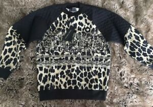 YOUNG VERSACE 3D Medusa Black Animal Print Quilted Sweatshirt - Made In Italy