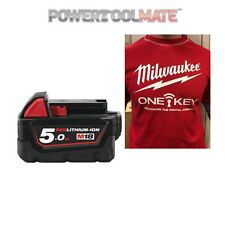 Genuine Milwaukee M18B5 18v 5Ah Li-Ion Red Battery - Free Milwaukee T (LARGE)