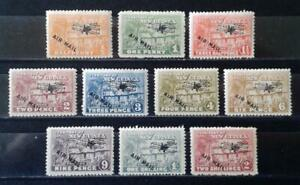 1931 New Guinea Village Huts airmail part set (10) to 2/ MLH mint hinged stamps
