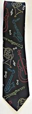 Abba Mens Tie  Pure Silk Guitar Sax  Instruments Black Blue Yellow Red Green
