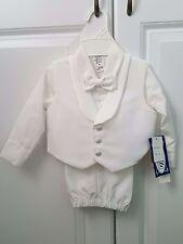 NWT Boys Lito White 4 Pc Formal Set Pants Jacket Shirt Tie Size 18/24 Months XL