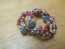 tone or crome Wire Coil Wrap Bracelet Chips Reddish & Pinkish Beads Silver