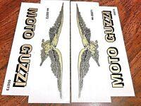 "Moto Guzzi 4.25 x 2"" gold/black eagle left/right gas tank vinyl transfers, pair"