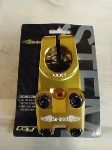 "GT RACING BMX RACE 1 1/8"" THREADLESS GOLD BIKE BICYCLE STEM 54mm"