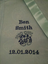 personalized boy / girl  pink or blue it a boy/girl  cot blankets