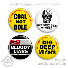 "COAL NOT DOLE Miners Strike Thatcher Protest SET - 1"" Badge x4 Badges NEW"