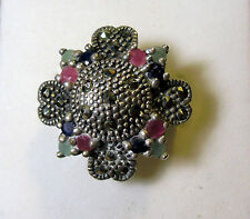 925 STERLING SILVER MULTI-COLORED RUBY EMERALD UNBRANDED COCKTAIL RING (US 7.75)