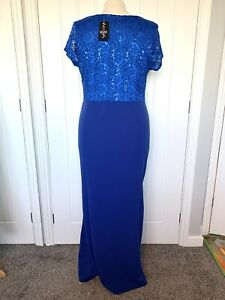 QUIZ BLUE SEQUIN EMBELLISHED LONG  MAXI EVENING OCCASION  PROM DRESS GOWN Sz 20