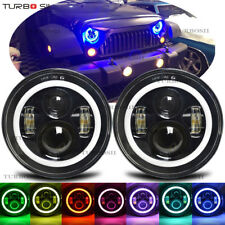 7INCH 120W Round LED RGB Headlights Halo Ring For 1969-1981 Chevy Camaro