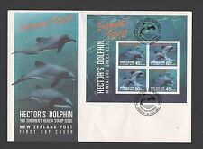 New Zealand 1991 FDC Health Stamp Hectors Dolphin Minisheet Issue set stamps