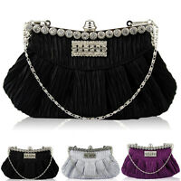 New Satin Diamante Glitter Women Clutch Bag Bridal  Ladies Evening Party Prom UK