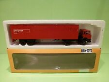 LION CAR DAF 2100 TRUCK + TRAILER - PTT POST - RED 1:50 - GOOD CONDITION IN BOX