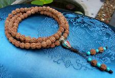 Besonders schöne MALA Gebetskette aus kleinen Rudraksha Perlen 88cm aus TIBET!