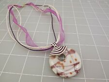 MURANO Italian Glass Artisan Pendant Necklace On Purple & White Chord 925 Clasp
