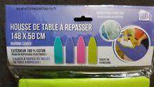 1 housse de table à repasser,148  x 58 cm, dessus 100% coton,4 coloris,ajustable