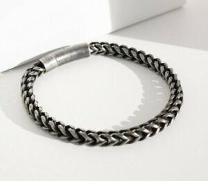 Herren Armband Vintage Silber Panzer Edelstahl Armband Männer Biker Königskette