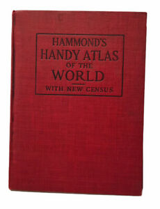 Hammond's Handy Atlas of the World With New Census Hardcover Book Maps 1916