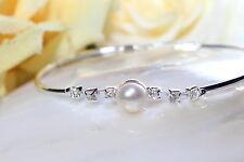 Armreif Armband echte Süßwasserperlen Schmuck Zyrkonia Perlen 7-8 mm neu