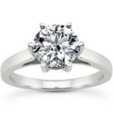 Certificate 0.71ct 14K White Gold Round Brilliant Diamond Engagement Ring H SI2
