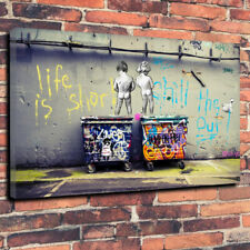 """Banksy Life is Short - Chill The Duck Out Printed Box Canvas Picture A1.30""""x20"""""""