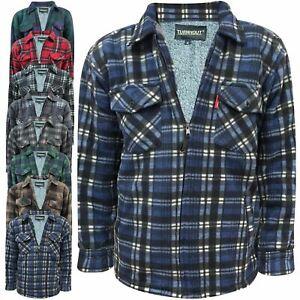 Mens Fleece Lined Lumberjack Padded Shirt Jacket Borg Fur Lined Sherpa Winter