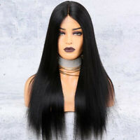 Brazilian Lace Front Human Hair Wig Glueless Long Silk Straight Wigs Pre-Plucked