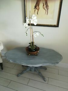 Stenciled Antique Coffee Table Central Carved Pedistal Grey Paint Sanded