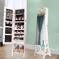 FUll MIrror Jewelry Cabinet Armoire Cosmetic Storage Box Floor Stand w/ 2Drawers
