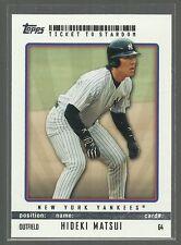 Hideki Matsui 2009 Topps Ticket to Stardom # 64 New York Yankees Baseball