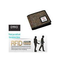 Harris Tweed Marrón para Hombre Monedero billetera tríptica RFID bloqueo con caja de regalo