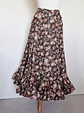 Vintage 8 Gored Brown Calico Prarie Skirt w really full triple contrast ruffle