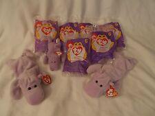 TY  BEANIE BABY. (12) HAPPY THE HIPPO.  3 REGULAR PVC. 9 TEENIE. 7 IN BAGS. MWMT