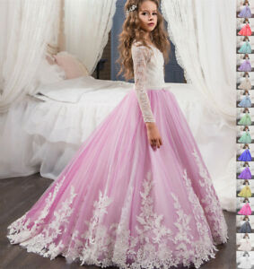 Wedding Flower Girl Communion Party Prom Princess Pageant Bridesmaid Kid's Dress