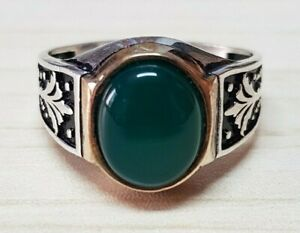 Vintage 925 Sterling Silver Ring Green Agate Aqeeq Stone Men Jewelry Size 12