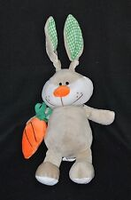 Peluche doudou lapin FIZZY Lapichoco gris blanc vert carotte orange 29/44cm NEUF