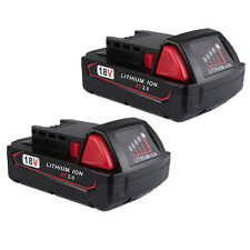 2X Battery For Milwaukee M18 18V Red Li-Ion 2.0ah Battery 48-11-1820 48-11-1815