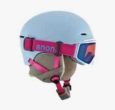 Anon Define Youth Skiing/ Snowboard Helmet w Goggles - Light Blue & Pink 52-55cm