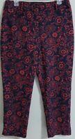 Ann Taylor Loft Riviera Dress Pant Julie Size 8 Black Red Floral Cotton Pockets