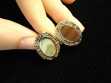 Vintage Signed MARINO Victorian Style Filigree Scroll Oval Clip Earrings