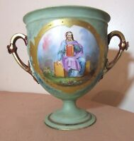 antique 1800's hand painted figural porcelain compote ewer vase trophy urn