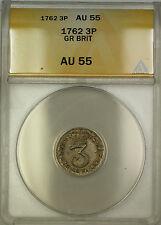 1762 Great Britain Silver Threepence 3P Coin ANACS AU-55