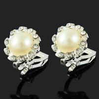 Comfy Clip On Cream Ivory Pearl & Rhinestone Crystal Round Stud Silver Earrings