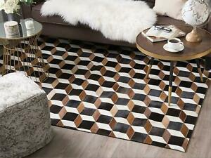 Handmade Tricolor Cowhide Patchwork Rug Chevron Design Cow Skin Cow Hide Leather