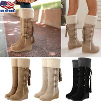 US WOMEN WINTER FUR FURRY KNEE HIGH BOOTS LACE UP WEDGE HEEL PLATFORM SHOES SIZE