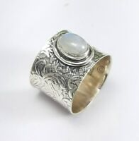 925 Sterling Silver Ring Rainbow Moonstone Wide Band Handmade Jewelry - ANY SIZE