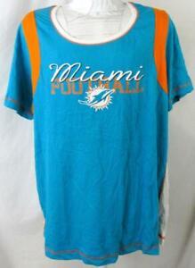 """Miami Dolphins Women Plus Size XL or 3XL """"MIAMI FOOTBALL"""" T-shirt ADOL 242"""