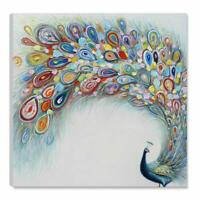 Hand Painted Large Peacock Painting Art Wall Decor Framed Animal Canvas Artwork